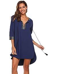 97fb765cdb30 Finejo Damen Partykleid Abendkleid Strandkleid Tunika 3 4 Hülse Lace-up  Kragen Shift Lose Kleid Vintage Bohemian…