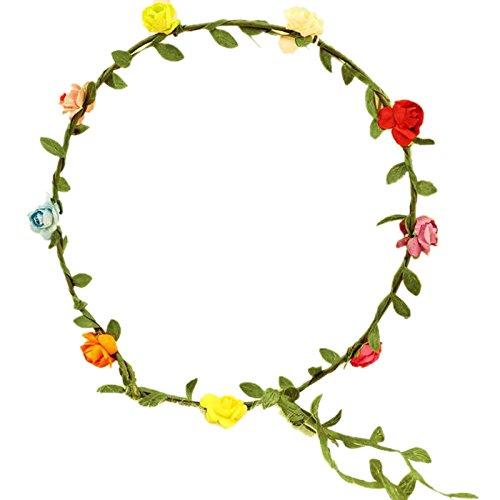 Bandeau-SODIAL(R) Dame Boho Floral Fleurs Festival Mariage guirlande Front Bandeau de cheveux Colore