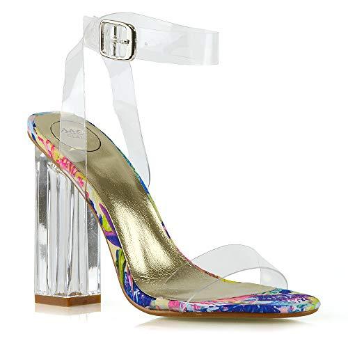 ESSEX GLAM Damen Kunstleder Durchsichtige Sandalen Perspex Promi Knöchelriemchen Absatzschuhe (UK 5 / EU 38 / US 7, Clear FLORAL) Floral Peep-toe-heels