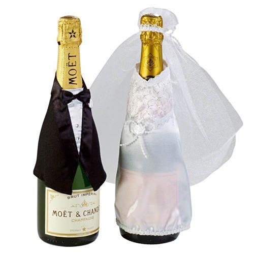 PARTY DISCOUNT Flaschen-Deko Hochzeit, Anzug & Brautkleid, 2-tlg
