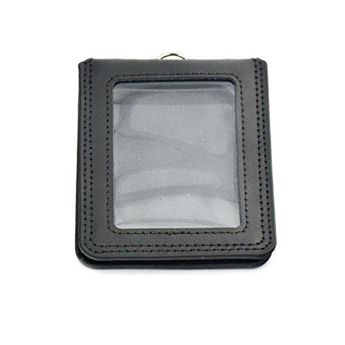 1Pc Office schwarz Ausweishalter Badge echtem Leder Unisex Fashion Compact Horizontal Vertikal schwarz Vertical Card WxL: 79mm x 105mm