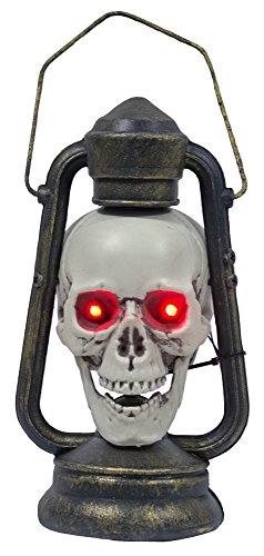 Das Kostümland Totenkopf Laterne mit leuchtenden Augen - Schaurige Dekoration für Karneval Halloween und Piraten Party