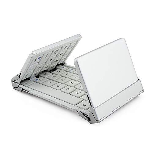 ZXLIFE@@ Drahtlose Bluetooth-Tastatur, 61-Tasten-Mini-Tastatur Mit DREI Klappfalten Und Wiederaufladbarer Batterie Für iPhone Ipad Samsung Smartphone Tablet,White Usb Universal Mobile