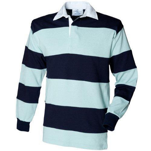 Front Row Rugby Polo-Shirt, langärmlig, gestreift (Xlarge) (Hellblau/Marineblau) (Rugby-shirt Gestreiftes)