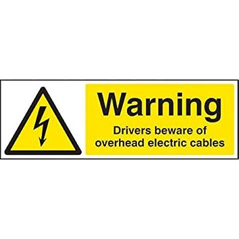 Caledonia signos 14021M controlador de advertencia cuidado con signo de cables, 600mm x 200mm, plástico