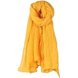 Dabixx Mujeres Color sólido Bufanda Larga Abrigo Vintage algodón Lino Grande mantón Hijab Elegante Amarillo #