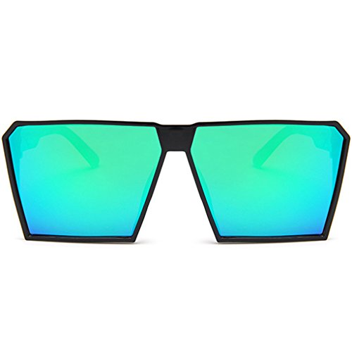JAGENIE Unisex Square Frame Oversized Colored Lens Vintage Flat Sunglasses for Men Women GN