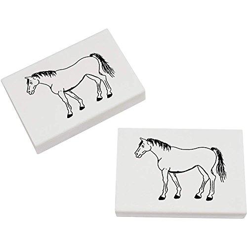 Azeeda 2 x 45mm 'Stehendes Pferd' Radiergummis (ER00014932)