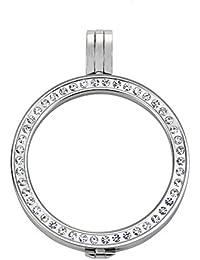 Quiges Versilbert Edelstahl Auswechselbarer Coin Anhänger Münzfassung 33mm Large mit Zirkonia