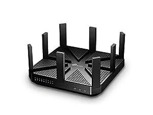 TP-Link Routeur - Wi-Fi Gigabit Tri-Bande: 1000 Mbps en 2.4 GHz, 2 x 2167 Mbps en 5 GHz, 5 ports Ethernet Gigabit, 1 port USB 3.0 + 1 port USB 2.0 (Archer C5400)- Noir- AC Tri-bande Hyper rapide