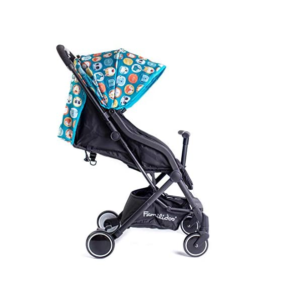 Famillidoo Air Stroller, Compact and Lightweight Pushchair, Suitable from Birth, Panda Blue Familidoo Lightweight only 5.2kg, super-compact buggy, including an easy to operate one-handed fold Detachable T-Bar for added safety and practicality. Good size 3-panel sun canopy Stylish aluminium frame with front and rear wheel suspension 2