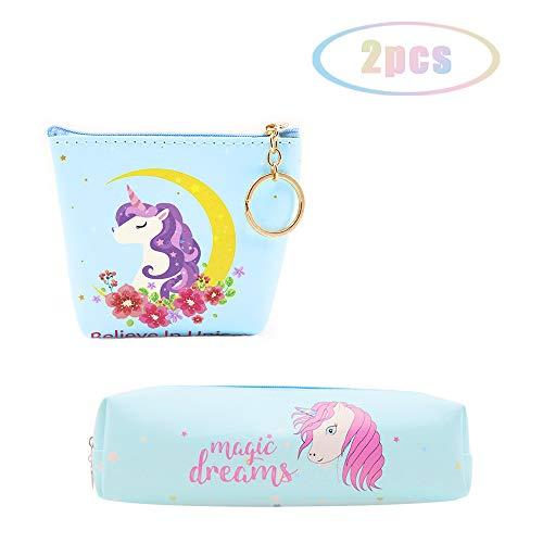 JUSTIDEA 1 monedero Unicornio Magic de 1 unicornio estuche de lápices para niños bolsa de herramientas de maquillaje bolsa de almacenamiento para niños niñas adultos adolescentes 2 paquetes