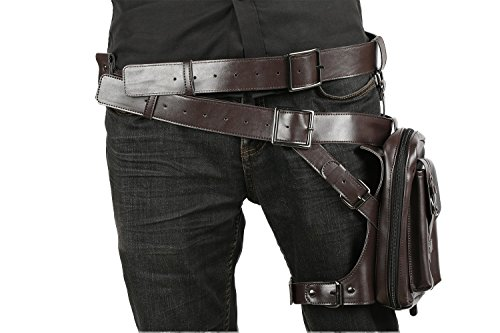 DealTrade Halloween Gürtel mit Holster Cosplay Kostüm Herren Braun Tasche PU Leder Verstellbarer Bund Fancy Dress Merchandise ()