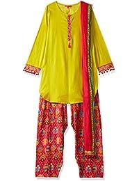 Biba Girls' Straight Salwar Suit Set