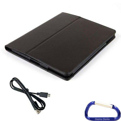 Gizmo Dorks Kunstleder Folio Schutzhülle (schwarz) und Micro-USB-Kabel mit Karabiner Schlüsselanhänger für HP TouchPad Schlüsselanhänger Touchpad