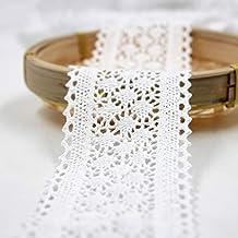 Outtybrave - Cinta de Encaje de algodón Blanco de 6 cm de Ancho para Manualidades