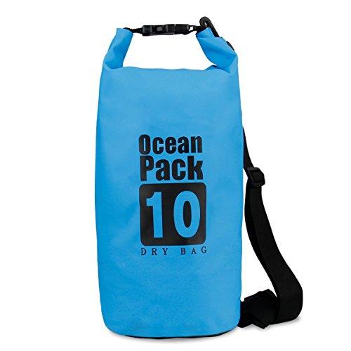 Trockentasche Dry Bag , Mopalwin Outdoors Dry Bag und lange Verstellbarer Schultergurt , Ideal für Kajak, Kanu, Segeln, Angeln, Schwimmen -10L(blau )