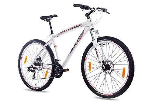 KCP 27,5 Zoll Mountainbike Fahrrad - GARRIOT Weiss 53 cm - Mountain Bike mit Gabel-Federung für Herren und Jungen, MTB Hardtail mit 21 Gang Shimano Schaltung und Scheibenbremsen vorne und hinten -