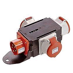 Hengda Adapter Stromverteiler 3 x CEE 400V//16A 5 Polig CEE-Steckdose IP44 Spritzwassergesch/ützt Mit Sicherheitsklappdeckeln F/ür Baustelle