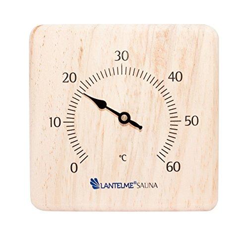 Preisvergleich Produktbild Sauna Holz Kiefer massiv Thermometer für Infrarotkabinen Bimetall Saunathermometer Analog