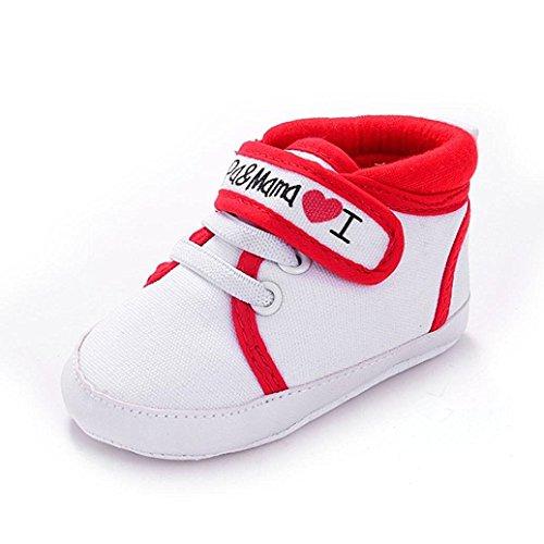 Auxma Niedlich Kind Baby Säugling Junge Mädchen weiche Sohle Kleinkind Schuhe Leinwand Sneak (0-6 Monat, Weiß) Rot