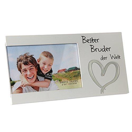 DRULINE Bilderrahmen Fotorahmen Rahmen Holz Weiß Geschenk Geschenkidee Persönlich Bester Bruder