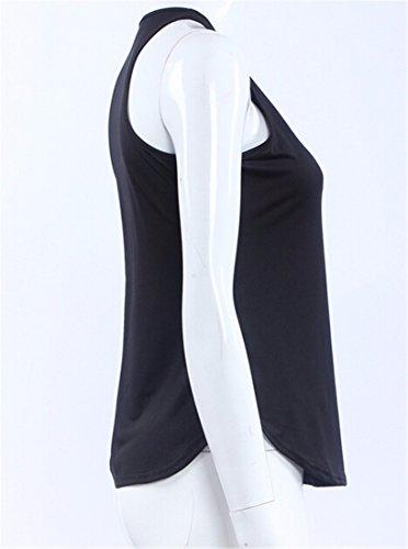 QIYUN.Z Donne Estate Sleeveless Casuale Gilet In Tinta Unita Camicie Camicette Spiaggia Top Nero