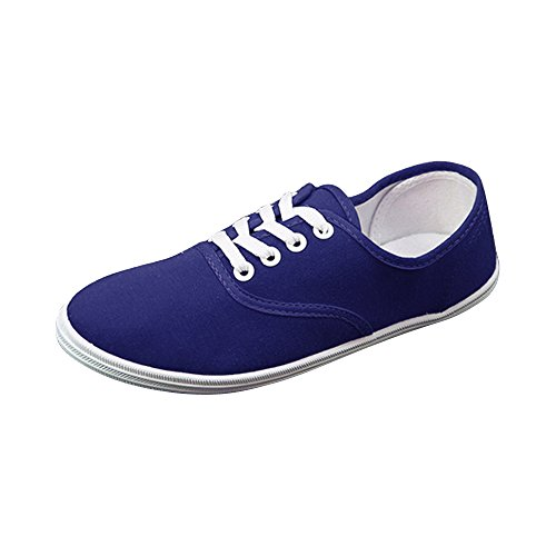OCHENTA Femme Tennis basse Baskets Mode En Toile Chaussure De Sport Léger Sneakers Basse Bleu fonce