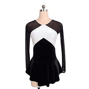 Heart&M Eiskunstlauf Kleid Damen Mädchen Eislaufen Performance Kleid Stretchy Skating Wear Handgemachte schweißableitende Langarm Samt Schwarz Weiß