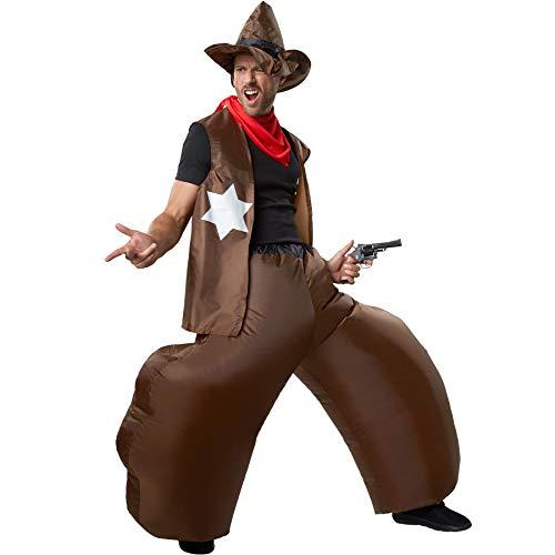 (dressforfun 302354 - Aufblasbares Unisex Kostüm Cowboy aus Hose, Weste, Hut und DREI Halstüchern)