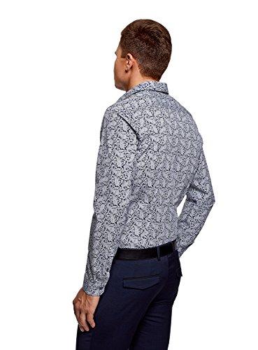 oodji Ultra Uomo Camicia in Cotone Stampato Blu (7910E)