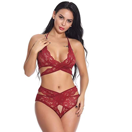 (TDFGCR Body Underwear Panties Underwear lace doll Dress Pajamas Negligee 2 Piece Set)