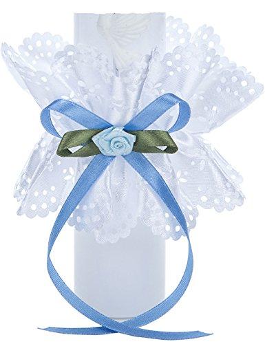 Tropfschutz für Tauf- und Kommunionskerzen von Princess Taufkleid - Modell 3  Tropfenfänger für Kerzen bis 50mm Durchmesser   Weißer Kerzenrock aus Satin mit farblichen Verzierungen