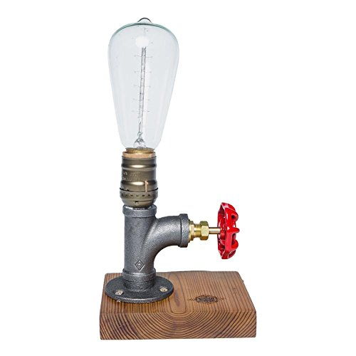 Lampada da tavolo di legno base ferro tubi desktop LED