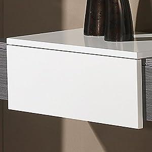 Meuble d'entrée Cendre + miroir - IMBRO - L 90 x l 29 x H 18
