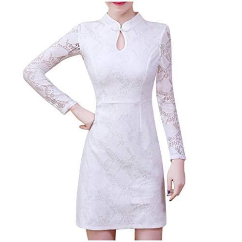 Briskorry Damen Kleid Hochzeitskleid Langarm Taille Slim Fit Small Tail Weiße Kirche Kleid Abendkleider Spitze Chiffon Boho Lang Elegant Festliche Kleider Brautkleider