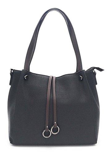 Flora Co - Sac à main/Sac porté épaule/Sac femme imitation cuir (Noir)