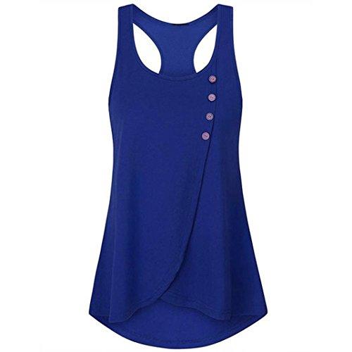 OSYARD Damen Sommer Solide Knopf Shirt Sleeveless Weste Tank Casual Tops Bluse(EU 40/S, Blau)