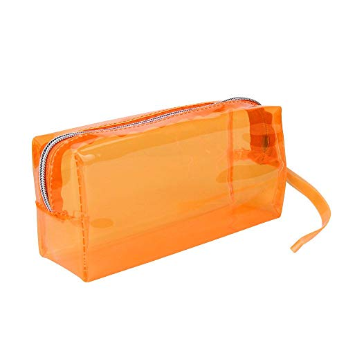 Bobopai Large Transparent Solid Color Zipper Cosmetic Jelly Pencil Case Office School Stationery (Orange)