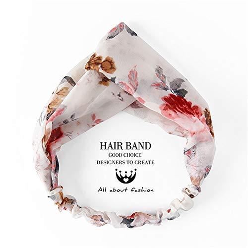 Guodaiup fascia per capelli moda donna accessori per capelli croce nodo fiore fasce floreali stampe bandane chiffon hairband femminile turbante sciarpa di capelli