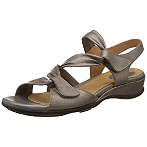 Clarks Women's Meza Lucena Pewter Leather Fashion Sandals