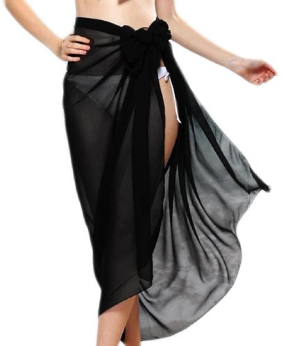 erdbeerloft- Damen Strandtuch groß transparent, 180 x 70cm, zwei Farben Schwarz