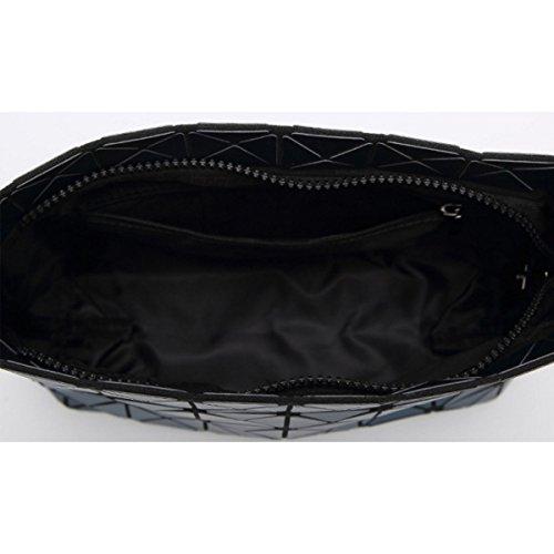 Damen Matte Geometrische Tasche Gefaltet Umhängetasche Black