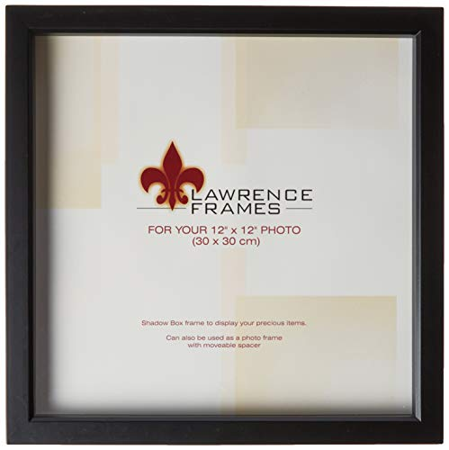 Lawrence Frames 795012 Black Wood Treasure Box Shadow Box Picture Frame, 12 by 12-Inch -