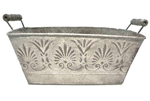 Bellaflor Roma Gesandet Pot rectangulaire en métal Vieilli 26,5 x 15 x 12 cm