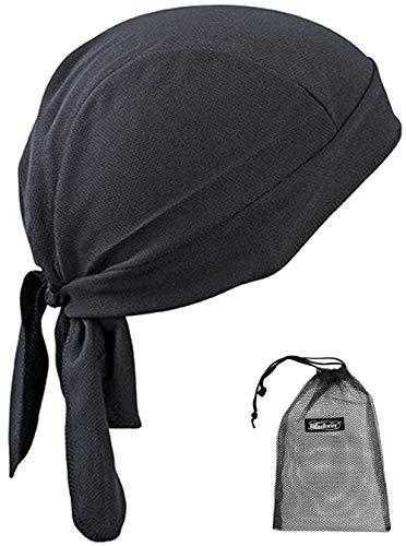 Gorro transpirable de secado rápido, ajustable, antiUV, con calavera, absorción de sudor, para deportes, senderismo, escalada, ciclismo, negro