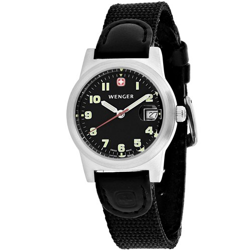 WENGER WOMEN'S FIELD 29MM BLACK NYLON BAND STEEL CASE QUARTZ WATCH 72926