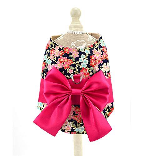 XuBa Weste Stil Kirschblüte Druck Zugseil mit Bowknot für kleine Pet Dog Rose red Cherry Blossom M Rose Druck Weste