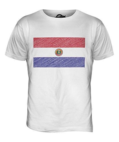 CandyMix Paraguay Kritzelte Flagge Herren T Shirt Weiß
