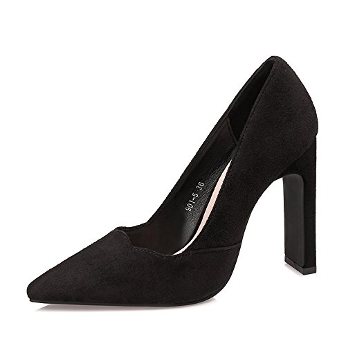 Flyrcx Otoño E Invierno Sexy Tacón Afilado Bajo Gamuza Zapatos De Tacón Alto Mujeres Zapatos De Fiesta A
